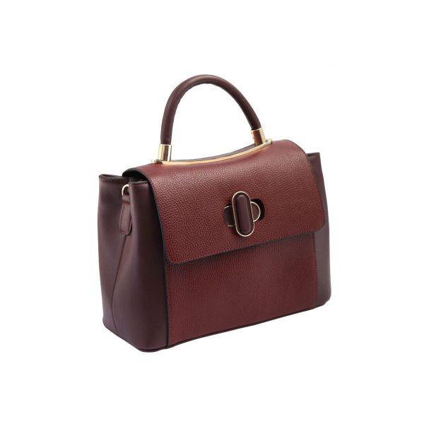 کیف دستی چرم زرشکی زنانه