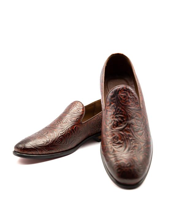 کفش تمام چرم مردانه مجلسی قهوه ای طرح دار