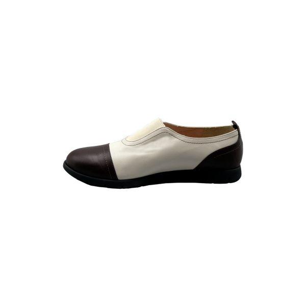 کفش چرم راحتی زنانه مشکی سفید