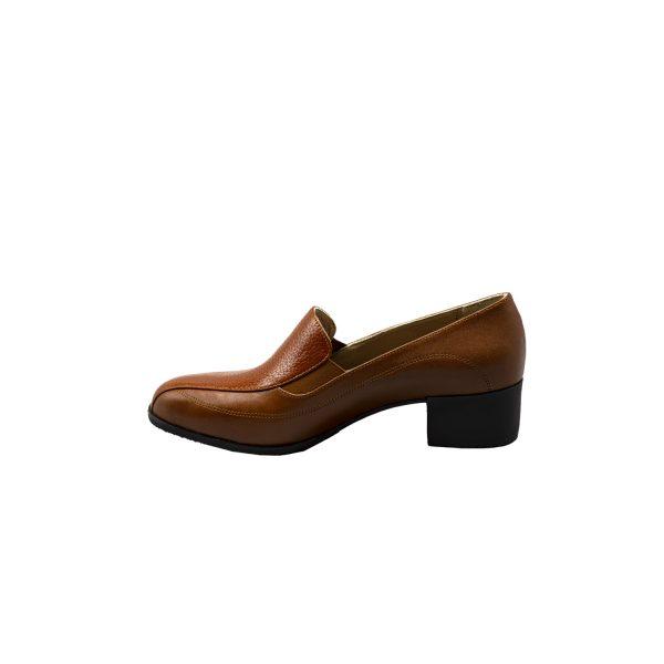 کفش چرم زنانه مجلسی قهوهای